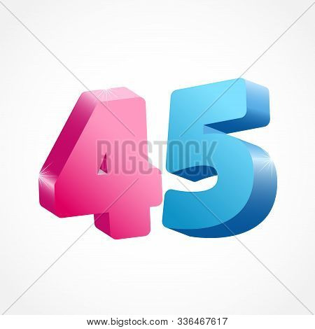 45 Th Anniversary Numbers. 45 Years Old Coloured Logotype. Age Congrats, Congratulation Idea. Isolat