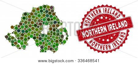 Mosaic Northern Ireland Map And Round Rubber Print. Flat Vector Northern Ireland Map Mosaic Of Rando