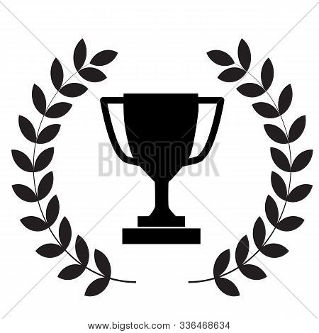 Winner Trophy Cup Icon On White Background. Flat Style. Laurel Wreath With Trophy Icon For Your Web