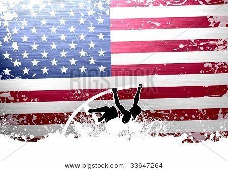 Abstract grunge pole vaulting background with space poster
