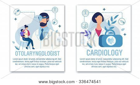Banner Set Offer Otolaryngologist Cardiologist Aid. Online Medical Services For Adults And Children