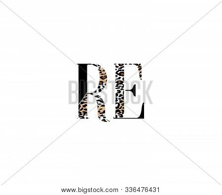 Initial Re Letter With Luxury Leopard Pattern Logotype
