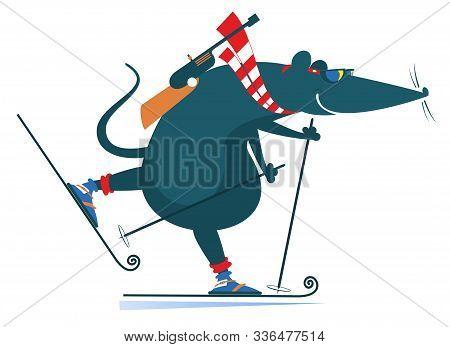 Biathlon Competitor Rat Or Mouse Illustration. Biathlon Competitor Cartoon Rat Or Mouse Isolated On