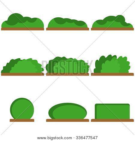 Bushes, A Set Of Green Bushes. Vector Illustration Of Bushes.