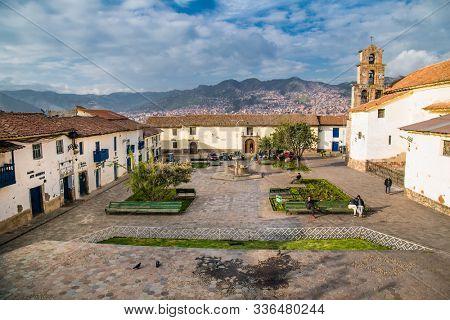 Cusco, Peru - Jan 7, 2019: Unidentified people at San Blas Square located in Cusco , Peru. South America.