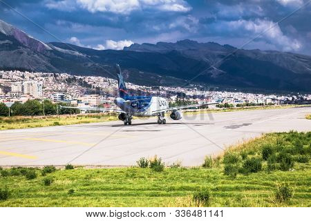 Cusco, Peru - Jan 6, 2019: Modern passenger plane at airport lane moving to take off , Cusco , Peru. South America.