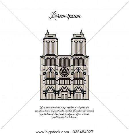 Notre Dame De Paris Color Vector. Travel Vector Banner Or Logo. The Famous Cathedral Of Notre Dame D