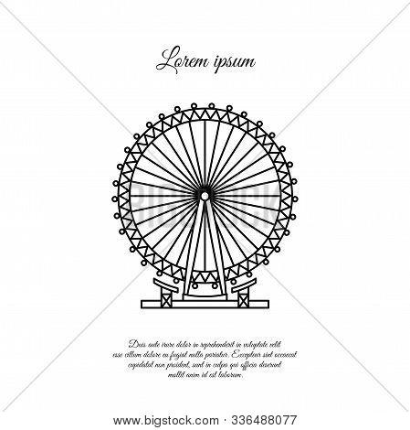 Novomoskovsk, Ukraine - March 11, 2019: London Eye, Ferris Wheel Vector Line Icon, Sign, Symbol
