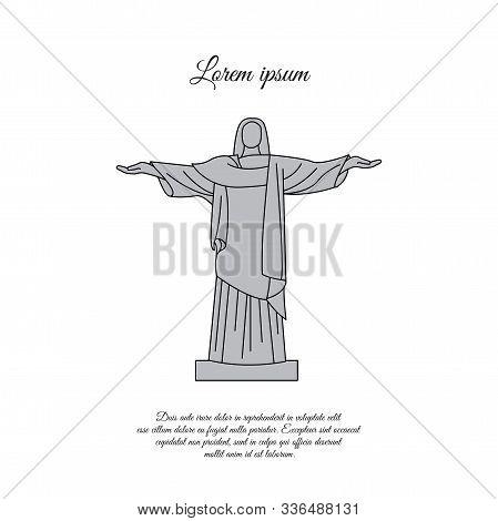 Novomoskovsk, Ukraine - March 25, 2019: Statue Of Christ The Redeemer In Rio De Janeiro Color Vector