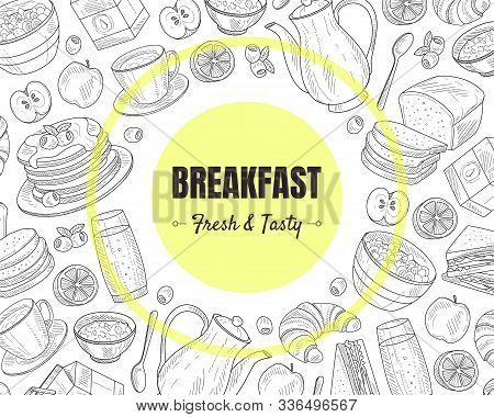 Breakfast And Brunches Top View Vector Frame Design.