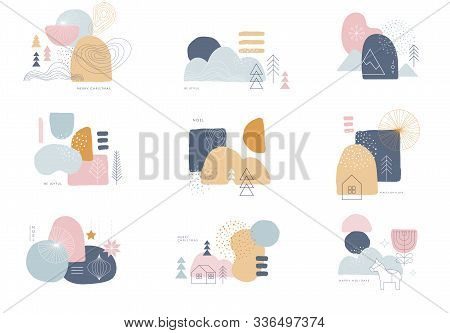 Collection Of Abstract Background Designs, Shapes In Clean Scandinavian Trendy Style. Story Template