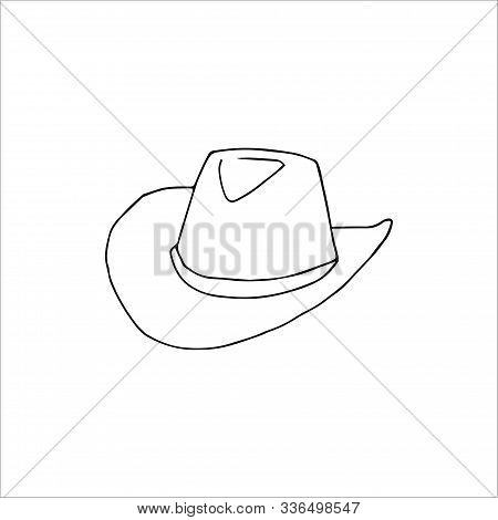 Hand Drawn Cowboy Hat Isolated On A White Background. Vector Illustration In Cartoon Style.