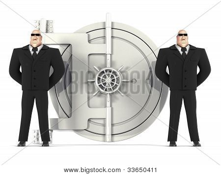 Two guards protect a safe