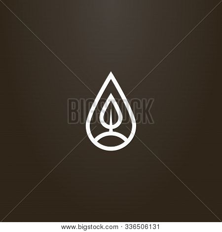 White Sign On A Black Background. Simple Vector Line Art Sign Of A Tree Or Leaf In A Teardrop-shaped