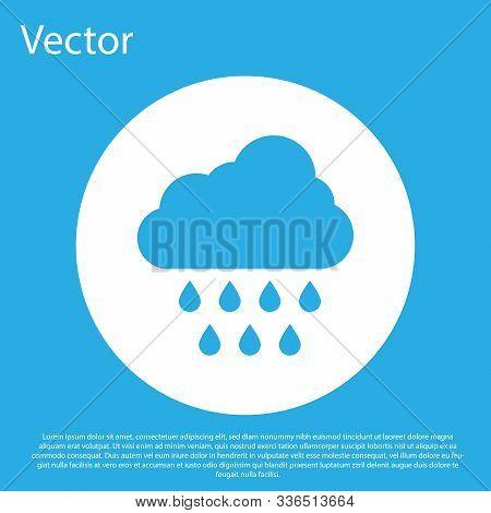 Blue Cloud With Rain Icon Isolated On Blue Background. Rain Cloud Precipitation With Rain Drops. Whi
