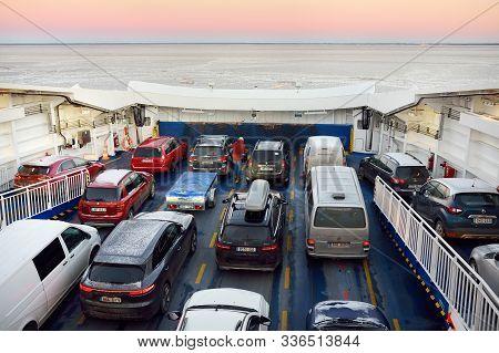 Virtsu, Estonia - January 03 2019: Ferryboat Between Virtsu And Kuivastu Settlements, Estonia. Sea T