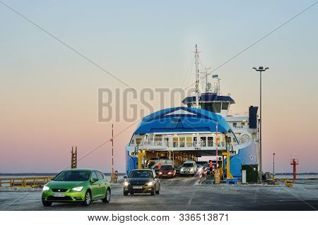Virtsu, Estonia - January 03 2019: Ferryboat Between Virtsu And Kuivastu Settlements, Estonia. Cars