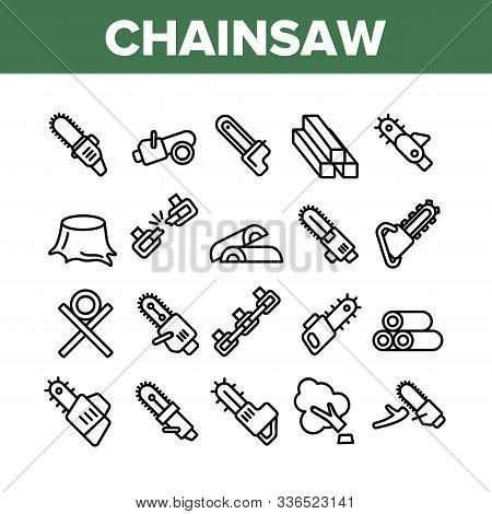 Chainsaw Collection Elements Icons Set Vector Thin Line. Gasoline Chainsaw Woodworking Industry Equi