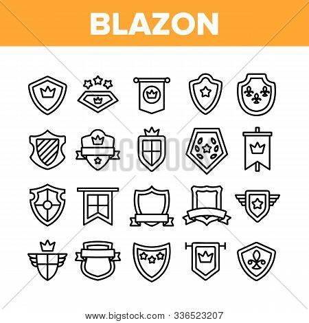 Blazon Shield Shapes Collection Icons Set Vector Thin Line. Medieval And Antique Blazon With Ribbon,