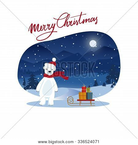 Cute Polar Bear Pulls Sled With Christmas Gifts Boxes . Cozy Snowy Night Scene. Flat Cartoon Style I