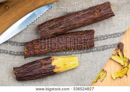 Group Of Stick Licorice Bars (natural Root Licorice). Paloduz Or Licorice Plant (glycyrrhiza Glabra,