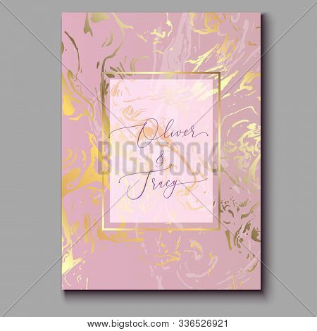 Rose Gold Marble Invitation Template. Realistic Marble Texture With Foil Effect. Ebru Painting Backg