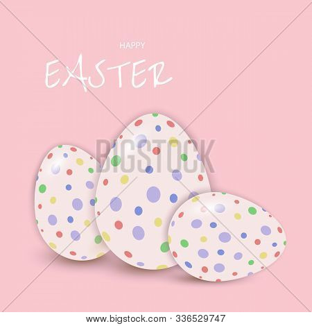Easter eggs postcard, banner for Easter vector, Happy Easter, easter bunny, easter background, easter banners, easter flyer, easter design,easter with flowers on red background, Copy space text area, vector illustration.