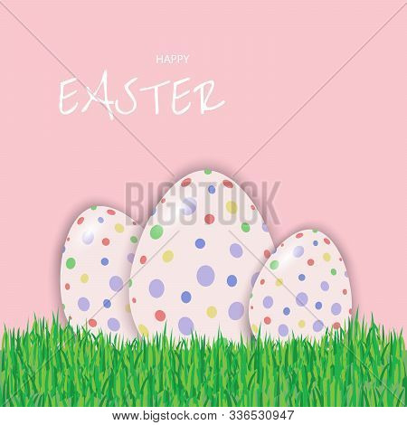 Easter eggs postcard, banner for Easter vector Happy Easter, easter bunny, easter background, easter banners, easter flyer, easter design,easter with flowers on red background, Copy space text area, vector illustration.