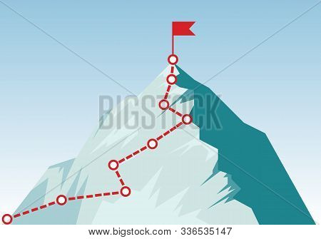 Mountain Climbing Route To Peak In Flat Style. Concept Of Goal, Mission, Vision, Career Path. Busine
