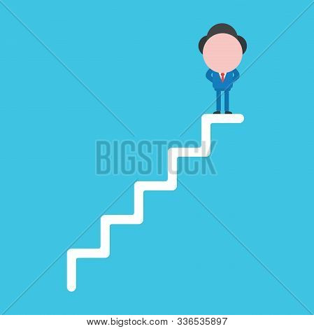 Vector Illustration Faceless Businessman Character Standing On Top Of Stairs On Blue Color Backgroun