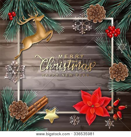 Festive Christmas Background. Merry Christmas And Happy New Year Decorative Frame With Fir Tree Bran