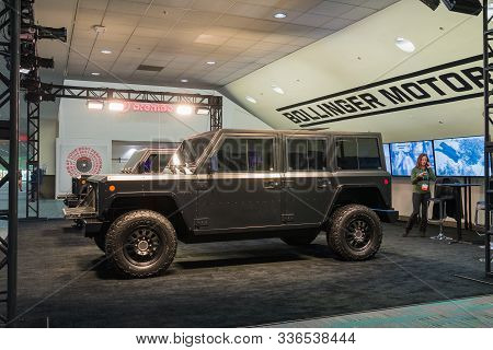 Bollinger B2 Electric Truck On Display During Los Angeles Auto Show.
