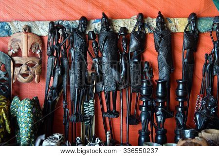 Handcrafted Or Handmade African Souvenir. Traditional African Primitive Figurine In Makonde Style An