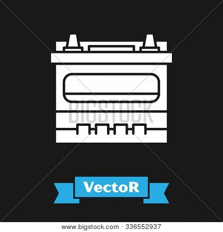 White Car Battery Icon Isolated On Black Background. Accumulator Battery Energy Power And Electricit