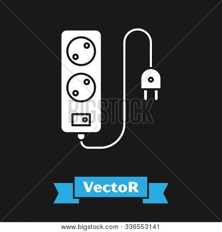 White Electric Extension Cord Icon Isolated On Black Background. Power Plug Socket. Vector Illustrat