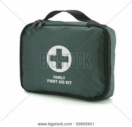 Green First Aid Kit Isolated On White With Clipping Path