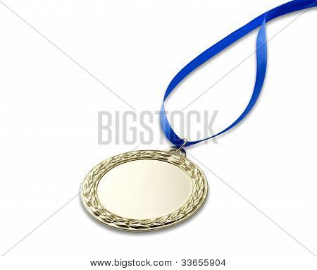 Blank Gold  Medal  With Clipping Path And Copyspace