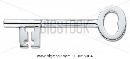 Silver Door Key Isolated On White (clipping Path)