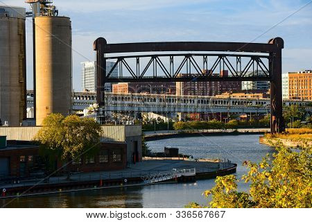 The Industrial Flats In Cleveland Ohio, With Silos, A Foundry, And Bridges Spanning The Cuyahoga Riv