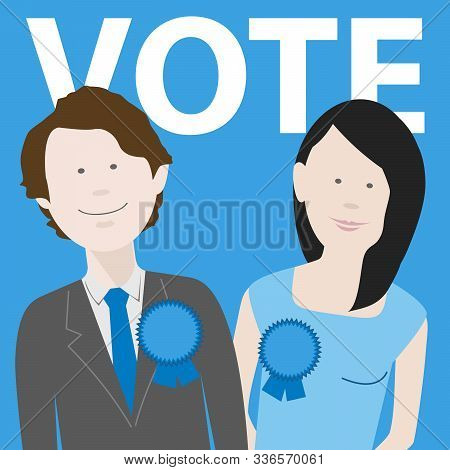 Two Political Candidates For The Uk Conservative Party. Eps File Available