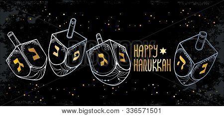 Vector Greeting Banner With Outline Hanukkah Or Hanuka Dreidel Or Sevivon With Hebrew Alphabet In Go