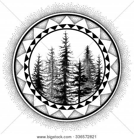 Vector Dotted Spruce Tree Or Coniferous Forest In Black In Round Decorative Frame Isolated On White