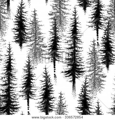 Vector Seamless Pattern With Dotted Spruce Tree Or Coniferous Forest In Black On The White Backgroun