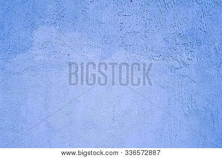 Blue Background Facade Plaster. Exterior Building Structure Backdrop. Silica Sand Cement Wall.