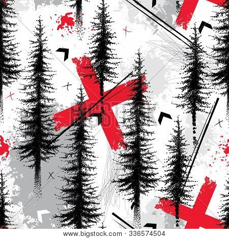 Vector Seamless Pattern With Dotted Spruce Tree Or Coniferous Forest And Crosses In Black And Red On
