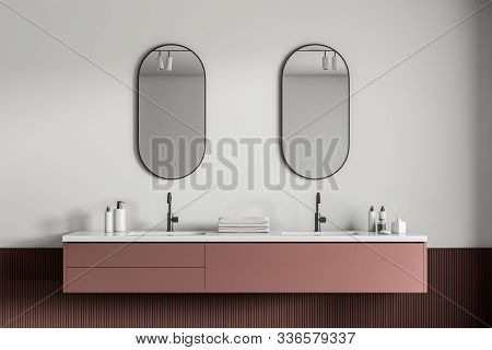 Double Sink In Red And White Bathroom