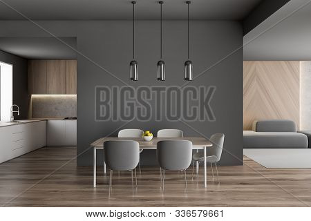 Gray Dining Table With Kitchen And Sofa