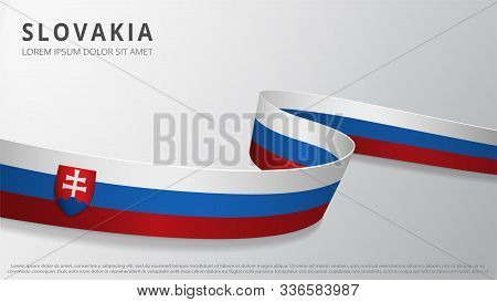 Flag Of Slovakia. Realistic Wavy Ribbon With Slovak Flag Colors. Graphic And Web Design Template. Na