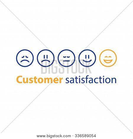 Emoticon In A Row, Rating Concept, Customer Service, Feedback Survey, Vector Flat Illustration