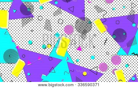 Navy Print. Pink Childish Texture. Retro Poster. Yellow Fashion. Doodle Background. Violet Simple De